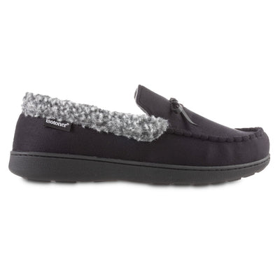 Men's Microsuede Moccasin Slippers in Black Profile