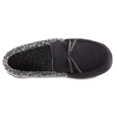 Men's Microsuede Moccasin Slippers in Black Inside Top View