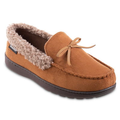 Men's Microsuede Moccasin Slippers in Cognac Tan Right Angled View