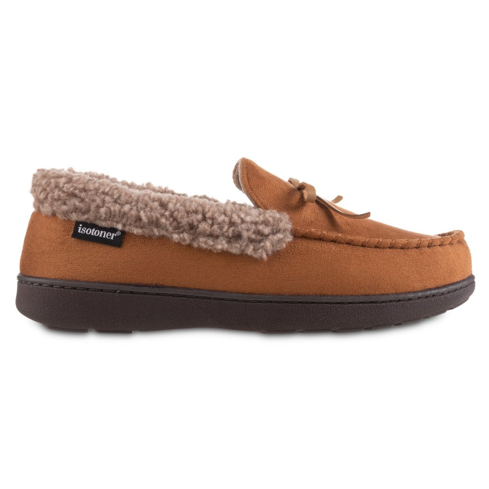Men's Microsuede Moccasin Slippers in Cognac Tan Profile