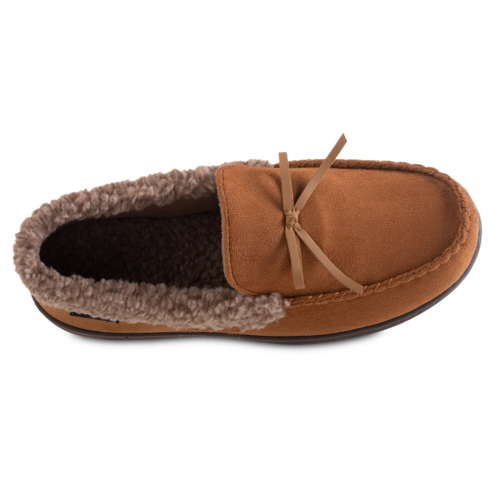 Men's Microsuede Moccasin Slippers in Cognac Tan Inside Top View
