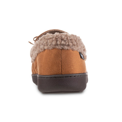 Men's Microsuede Moccasin Slippers in Cognac Tan Back Heel