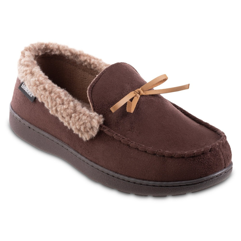 Men's Microsuede Moccasin Slippers in Dark Chocolate Brown Right Angled View