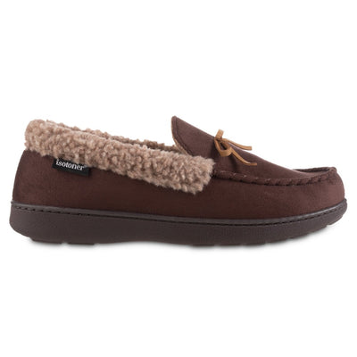 Men's Microsuede Moccasin Slippers in Dark Chocolate Brown Profile
