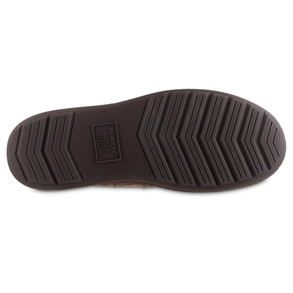 Men's Microsuede Moccasin Slippers in Dark Chocolate Brown Bottom Sole Tread