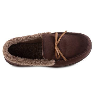 Men's Microsuede Moccasin Slippers in Dark Chocolate Brown Inside Top View