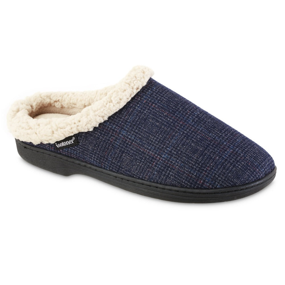 Men's Plaid Tanner Hoodback Slipper in Navy Blue Right Angled View