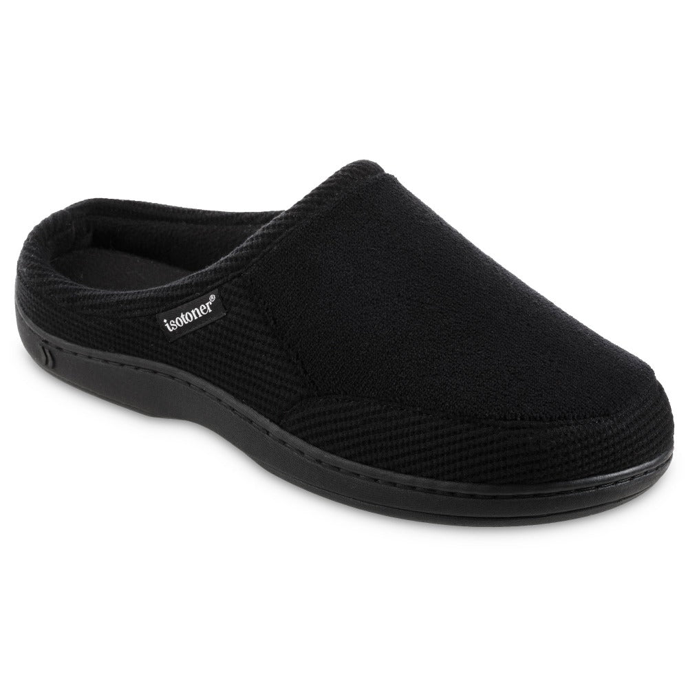 Men's Microterry and Waffle Travis Hoodback Slippers in Black Right Angled View