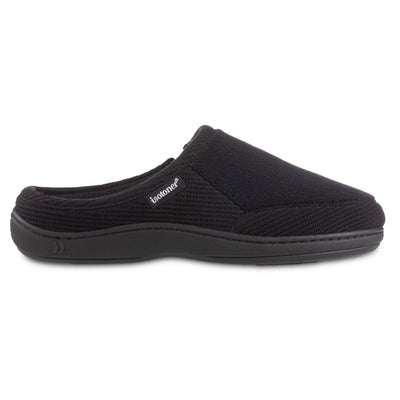 Men's Microterry and Waffle Travis Hoodback Slippers in Black Profile