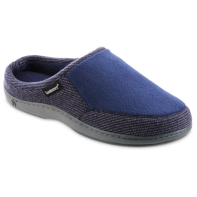 Men's Microterry and Waffle Travis Hoodback Slippers in Navy Blue Right Angled View