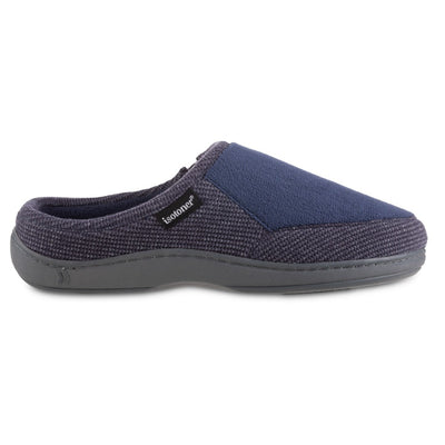 Men's Microterry and Waffle Travis Hoodback Slippers in Navy Blue Profile