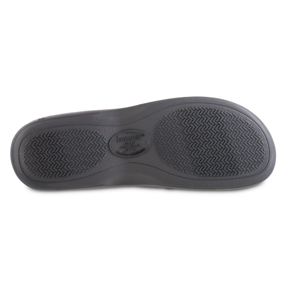 Men's Microterry and Waffle Travis Hoodback Slippers in Navy Blue Bottom Sole Tread