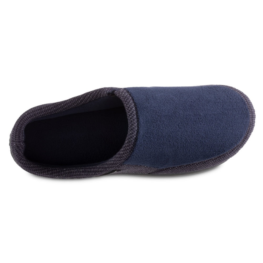 Men's Microterry and Waffle Travis Hoodback Slippers in Navy Blue Inside Top View