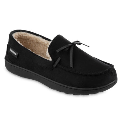 Men's Recycled Nigel Moccasin with Canvas Heel in Black Right Angled View