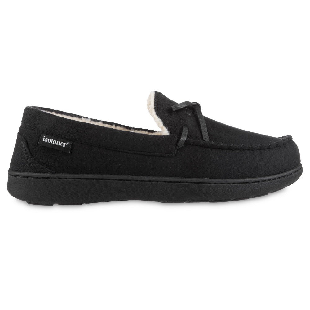 Men's Recycled Nigel Moccasin with Canvas Heel in Black Profile