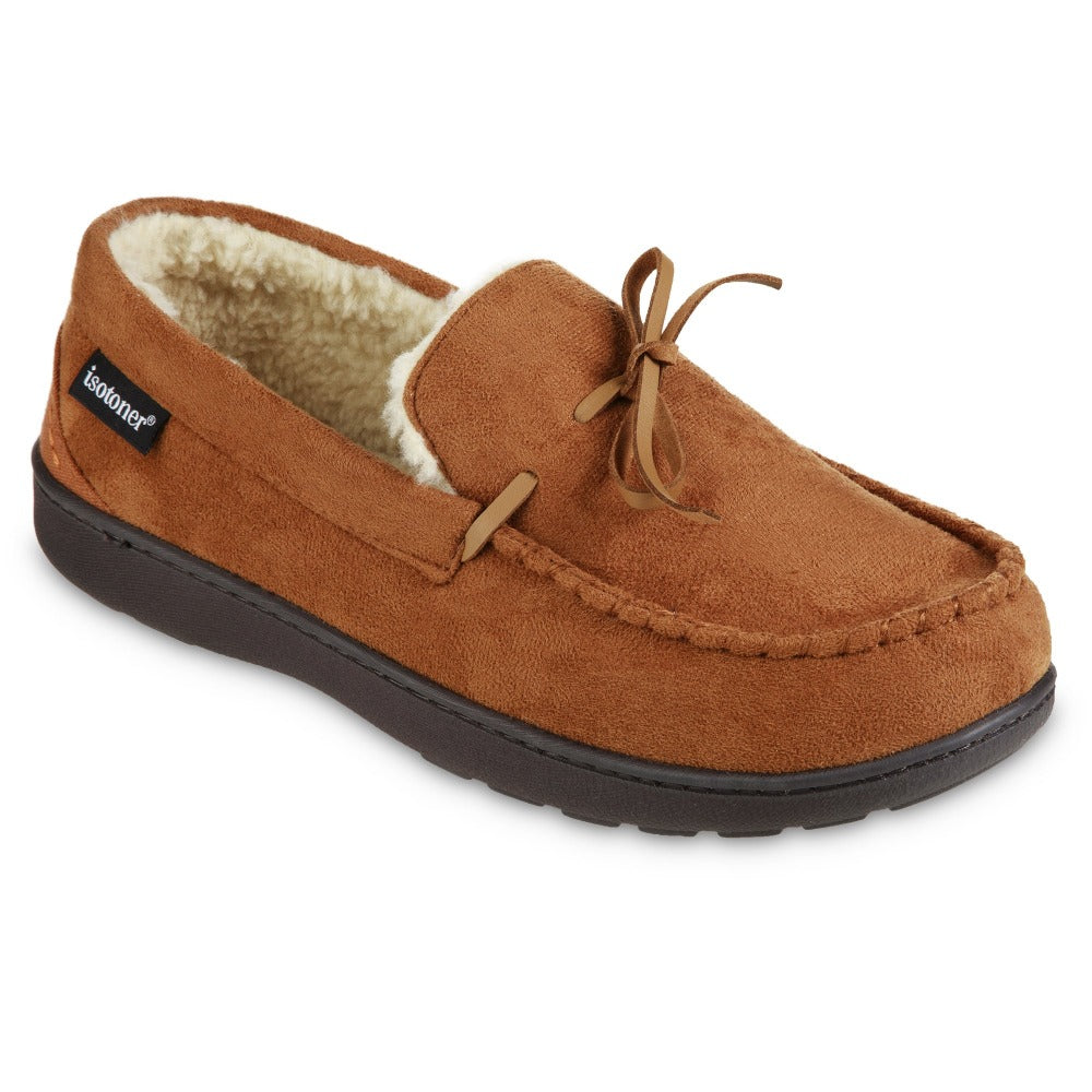 Men's Recycled Nigel Moccasin with Canvas Heel in Cognac brown Right Angled View