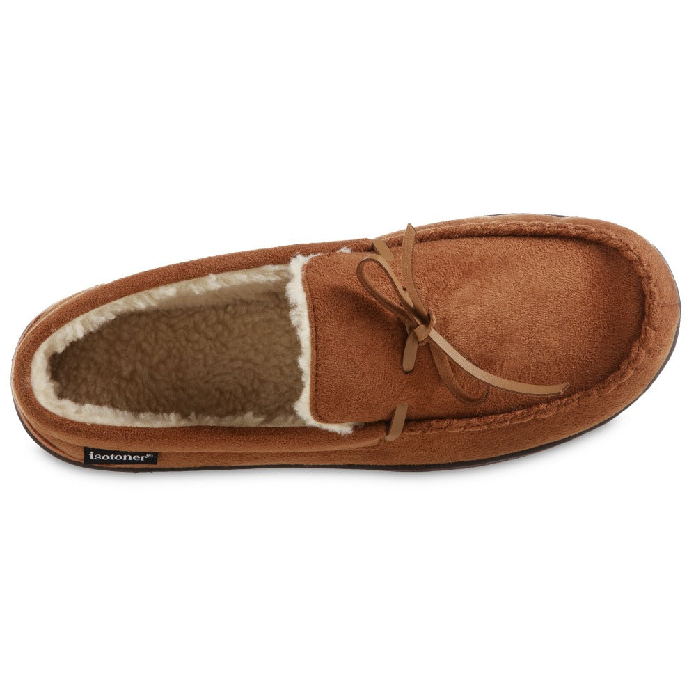 Men's Recycled Nigel Moccasin with Canvas Heel in Cognac brown Inside Top view