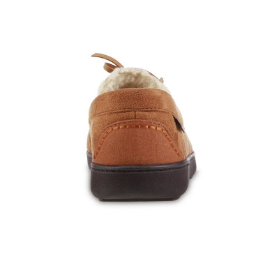 Men's Recycled Nigel Moccasin with Canvas Heel in Cognac brown back heel