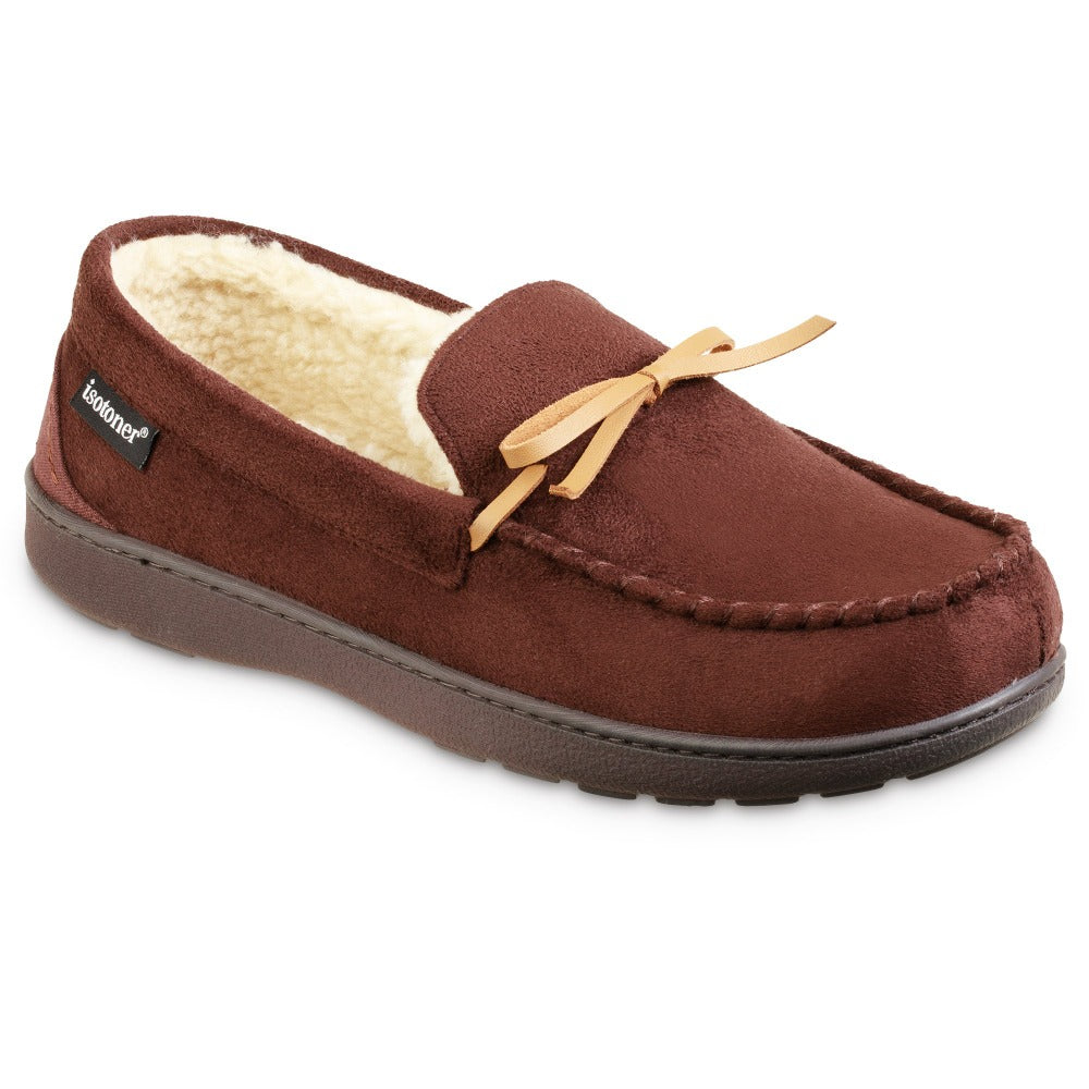 Men's Recycled Nigel Moccasin with Canvas Heel in Dark Chocolate Right Angled View