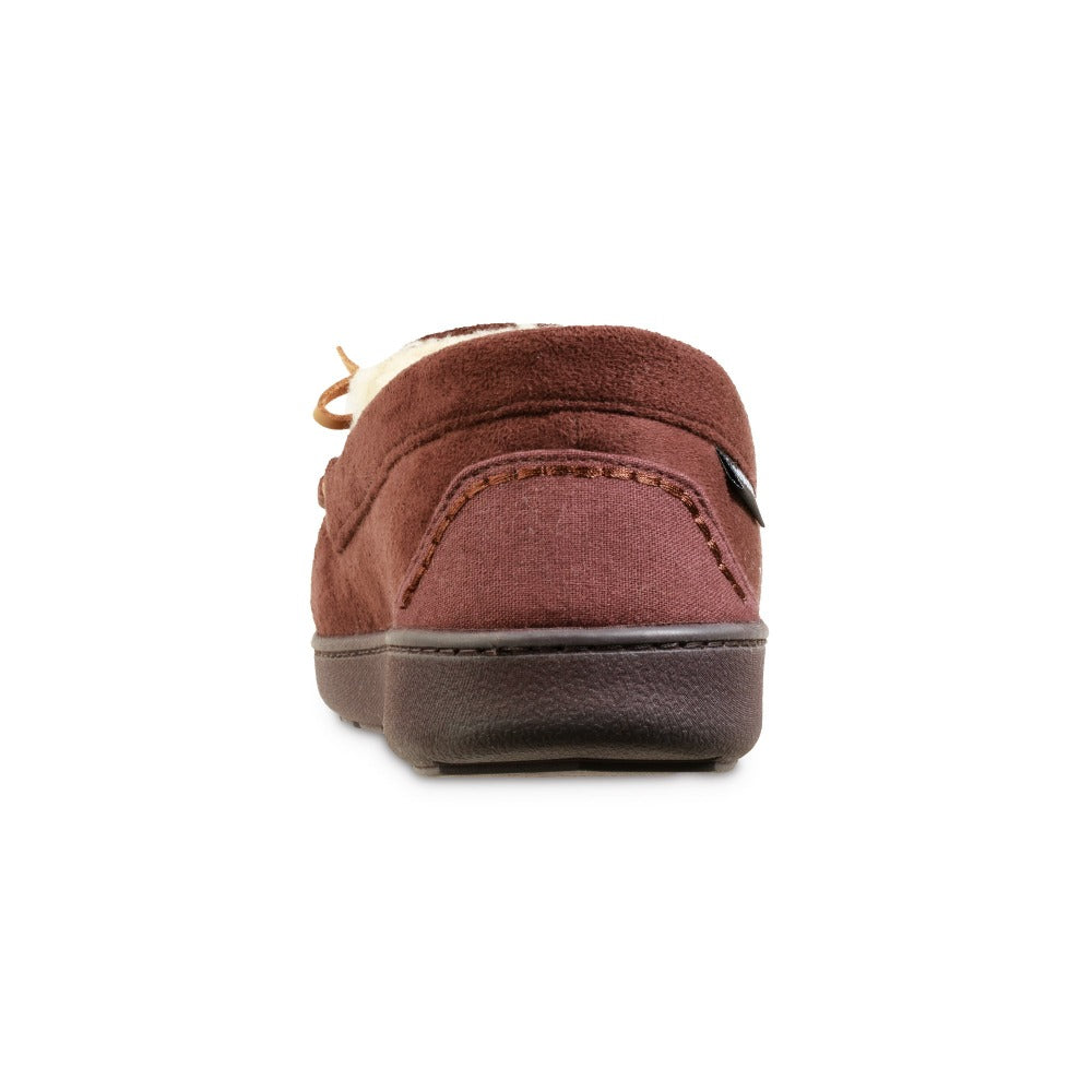 Men's Recycled Nigel Moccasin with Canvas Heel in Dark Chocolate Back Heel