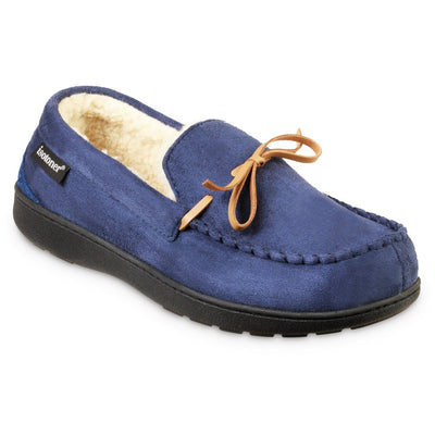 Men's Recycled Nigel Moccasin with Canvas Heel in Navy Blue Right Angled View