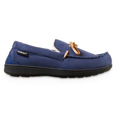 Men's Recycled Nigel Moccasin with Canvas Heel in Navy Blue Profile