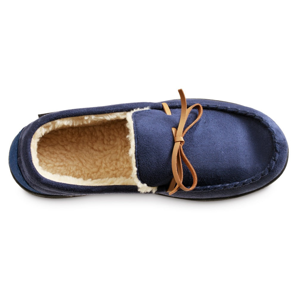 Men's Recycled Nigel Moccasin with Canvas Heel in Navy Blue Inside Top View