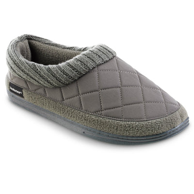 Men's Quilted Levon Low Boot Slippers in Ash Right Angled View