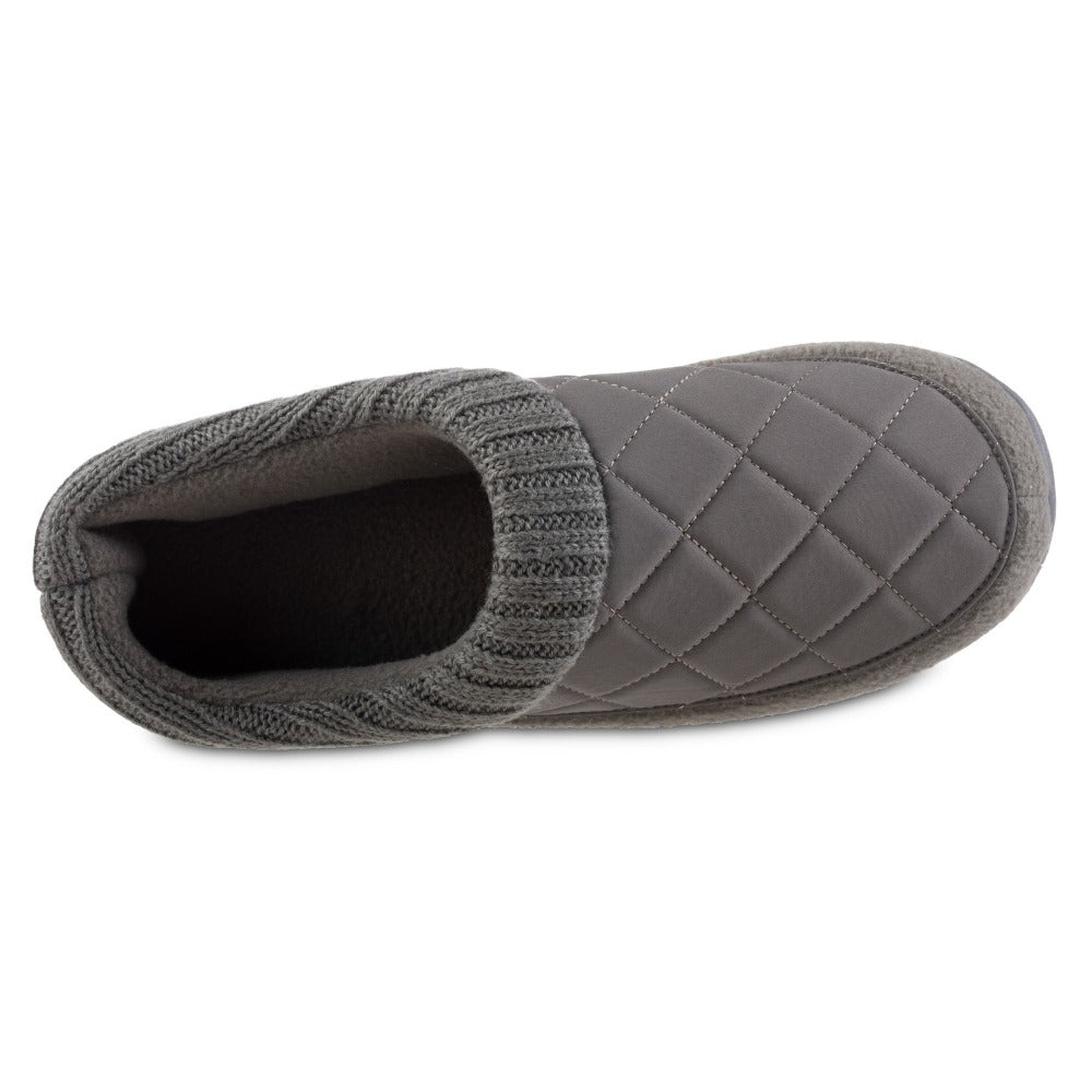 Men's Quilted Levon Low Boot Slippers in Ash Inside Top View