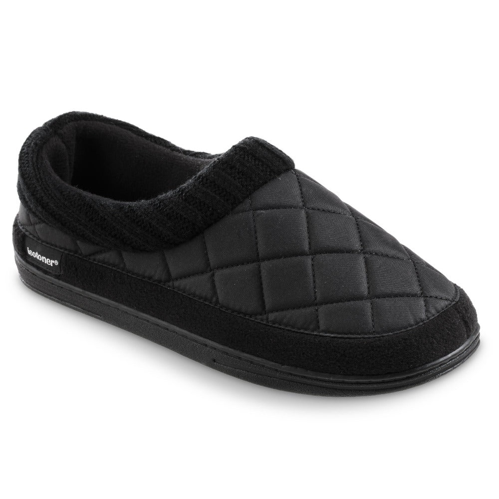 Men's Quilted Levon Low Boot Slippers in Black Right Angled View