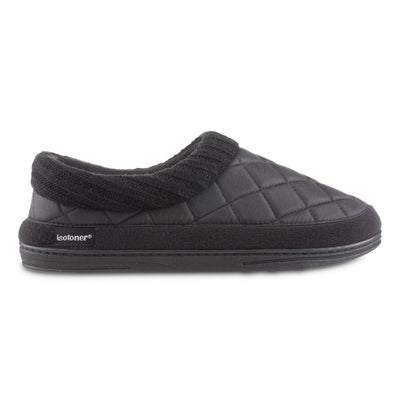 Men's Quilted Levon Low Boot Slippers in Black Profile