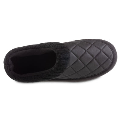 Men's Quilted Levon Low Boot Slippers in Black Inside Top View