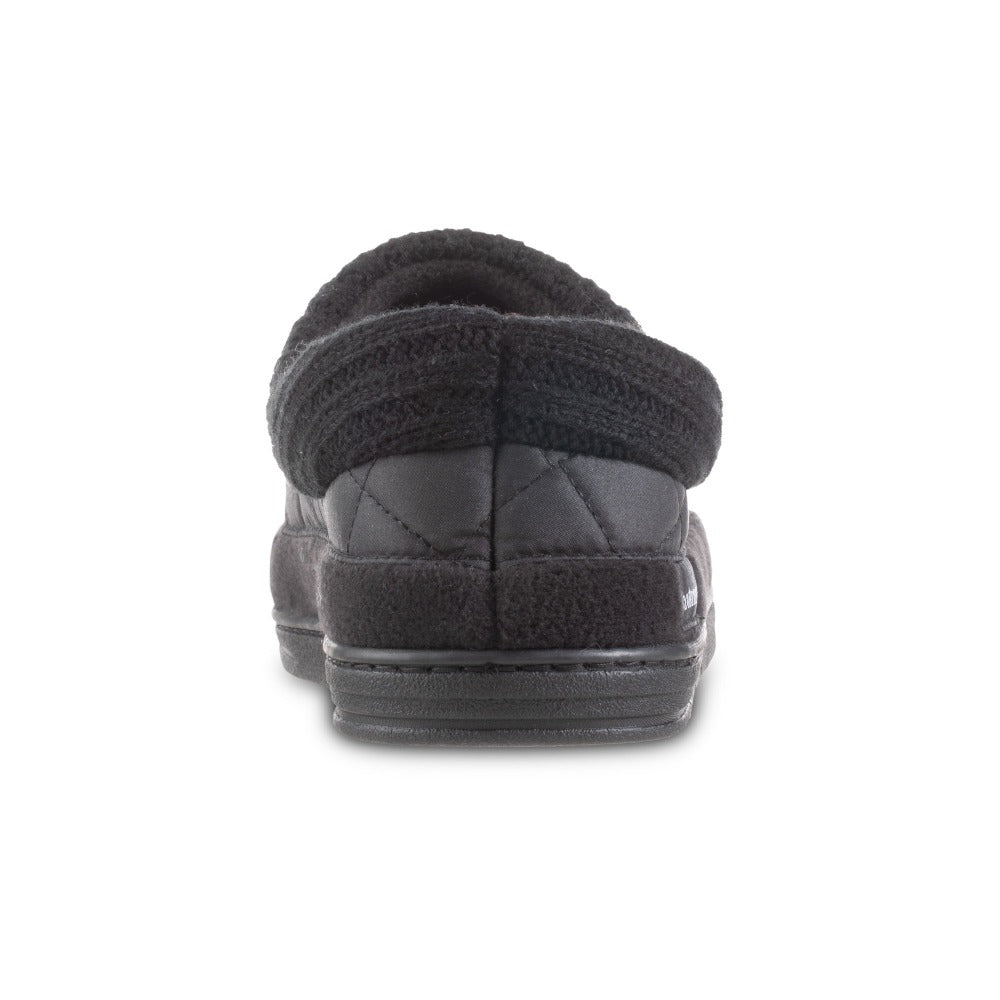Men's Quilted Levon Low Boot Slippers in Black Back Heel