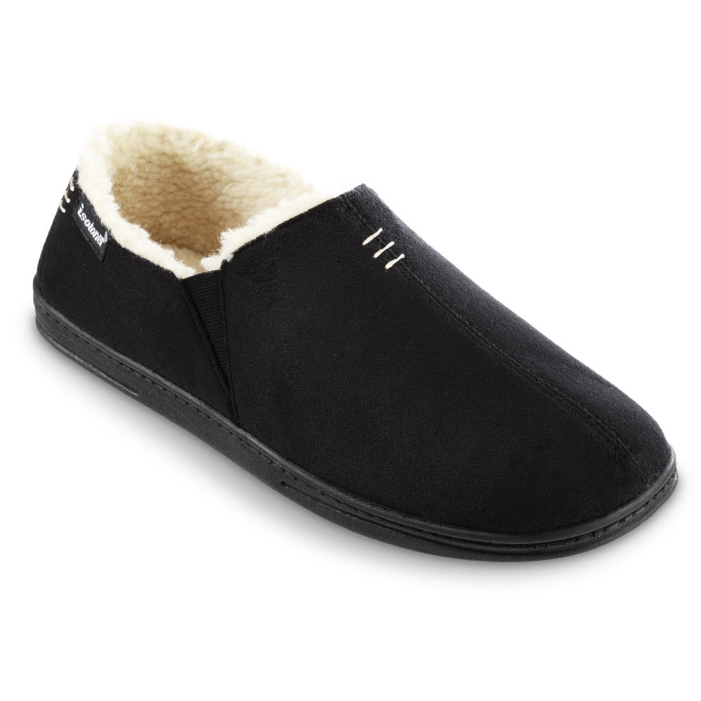Men's Recycled Microsuede Nigel Closed Back Slipper in Black Right Angled View