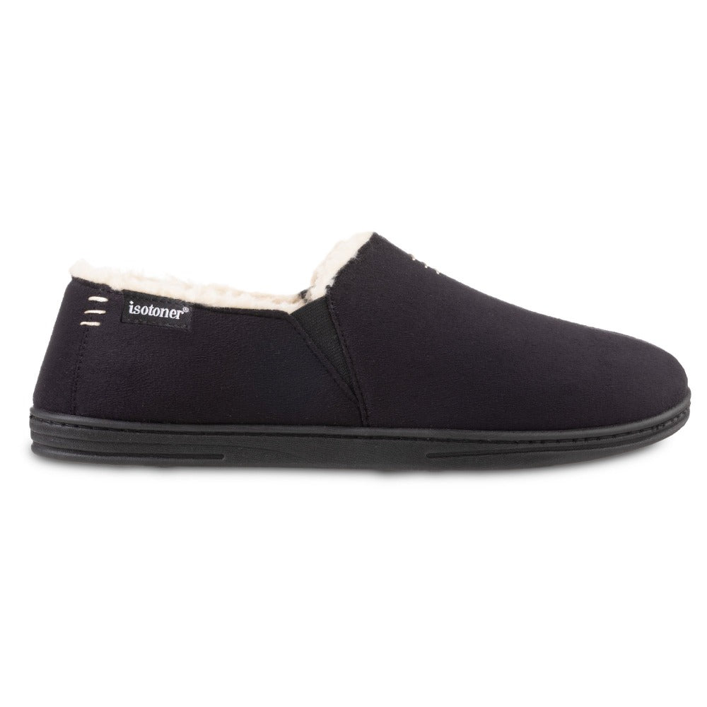 Men's Recycled Microsuede Nigel Closed Back Slipper in Black Profile