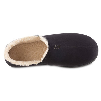 Men's Recycled Microsuede Nigel Closed Back Slipper in Black Inside Top View