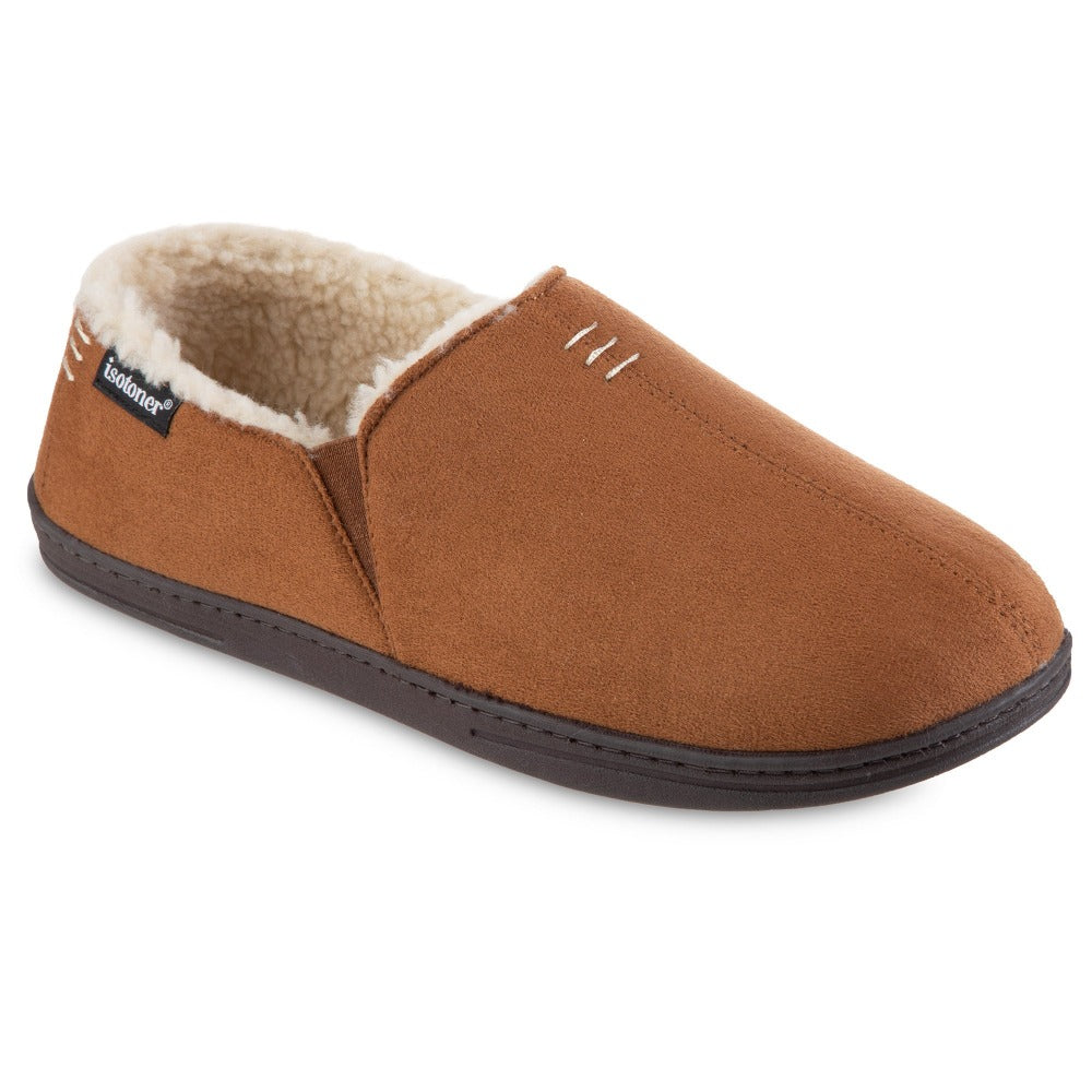 Men's Recycled Microsuede Nigel Closed Back Slipper in Cognac Right Angled View