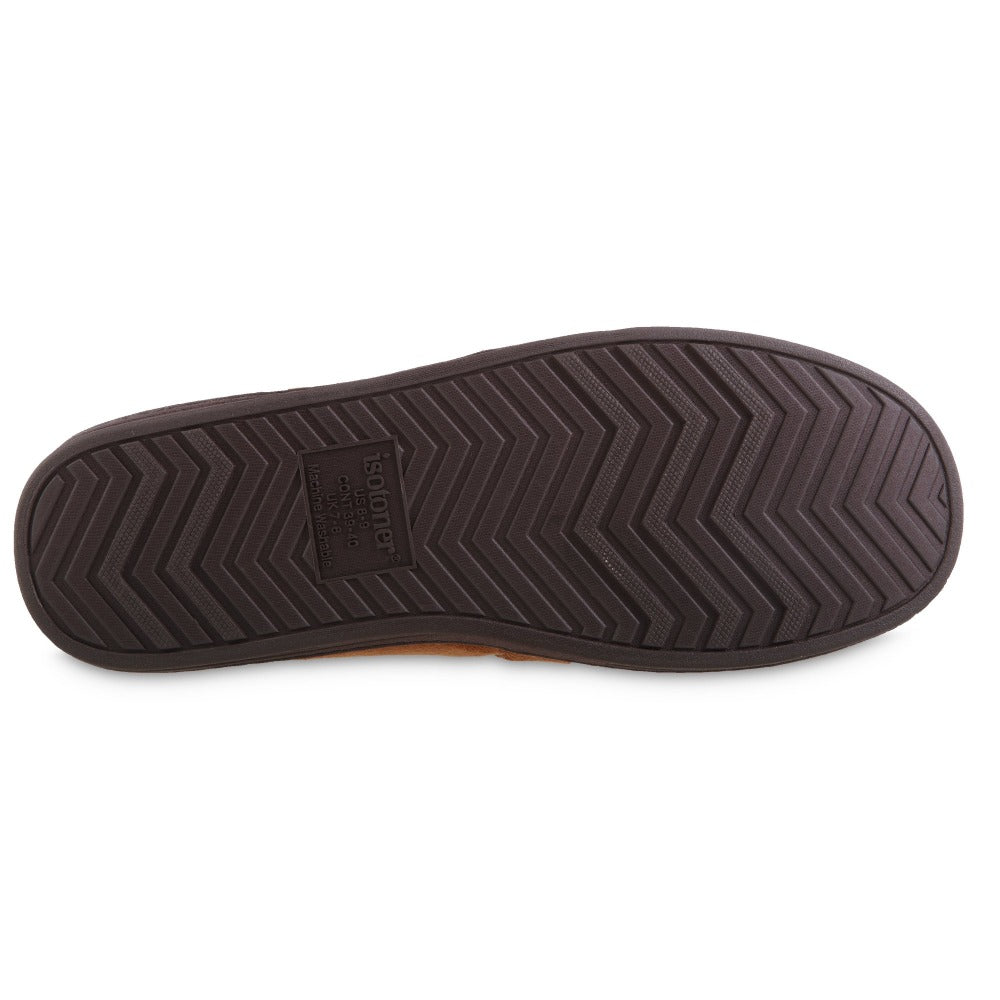 Men's Recycled Microsuede Nigel Closed Back Slipper in Cognac Bottom Sole Tread