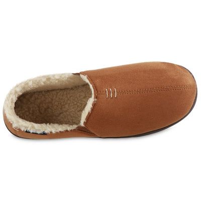 Men's Recycled Microsuede Nigel Closed Back Slipper in Cognac Inside Top View