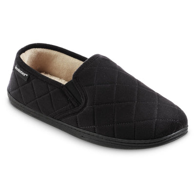 Men's Quilted Nicco Closed Back Slippers in Black Right Angled View