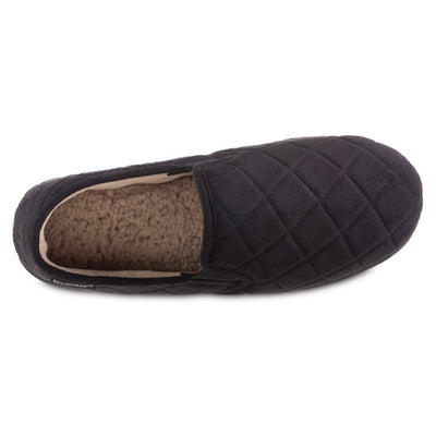 Men's Quilted Nicco Closed Back Slippers in Black Inside Top View