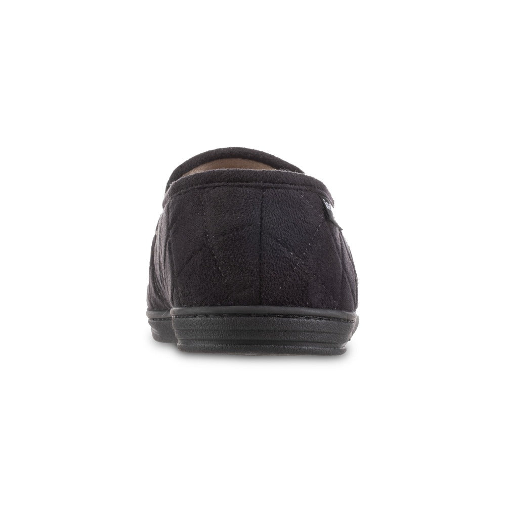 Men's Quilted Nicco Closed Back Slippers in Black Back Heel