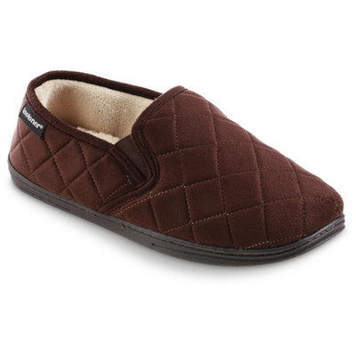 Men's Quilted Nicco Closed Back Slippers in Dark Chocolate Right Angled View