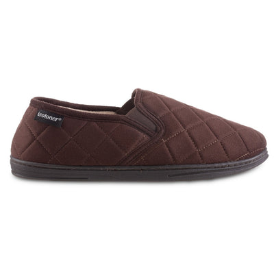 Men's Quilted Nicco Closed Back Slippers in Dark Chocolate Profile