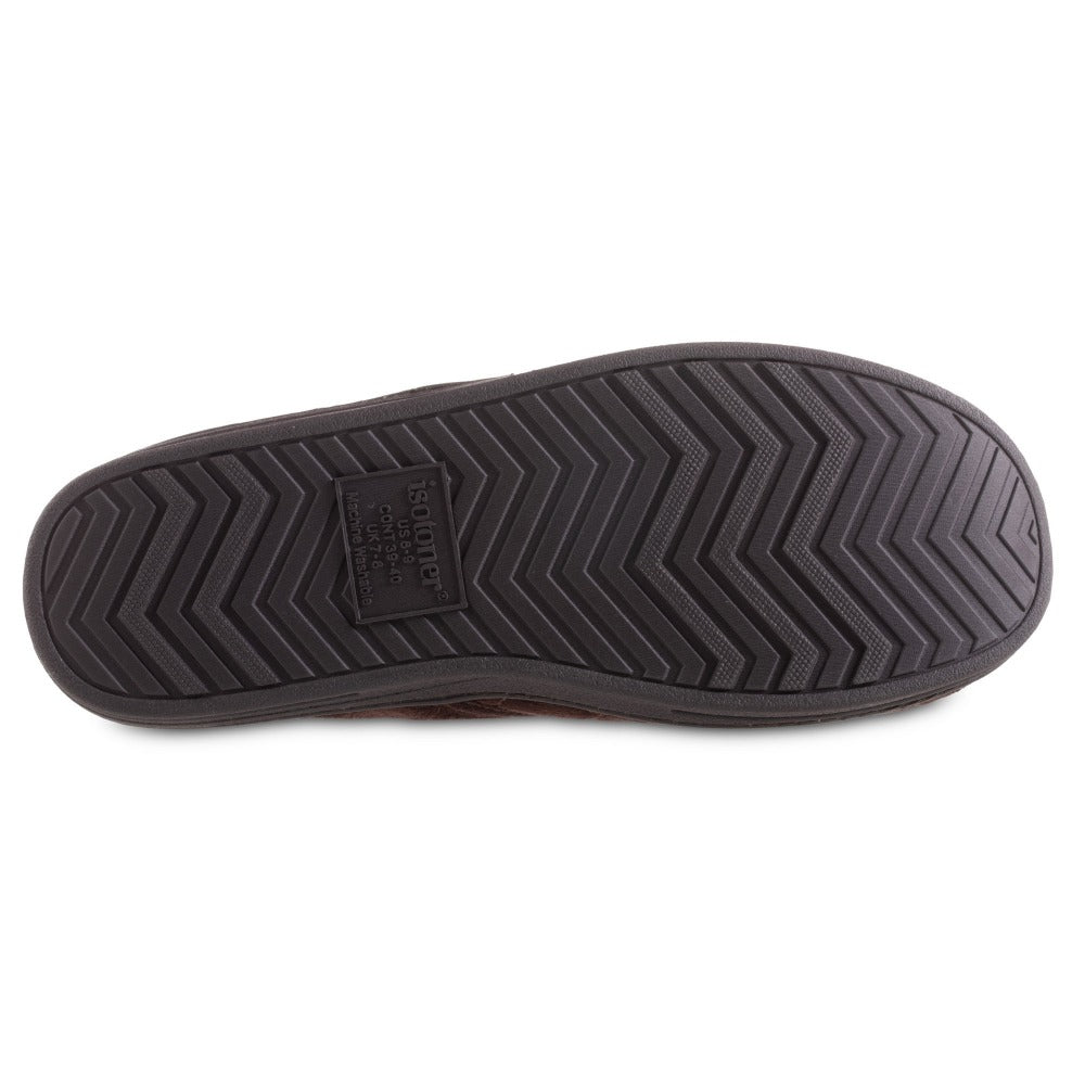 Men's Quilted Nicco Closed Back Slippers in Dark Chocolate Bottom Sole Tread