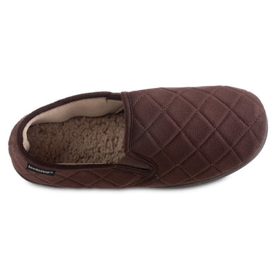 Men's Quilted Nicco Closed Back Slippers in Dark Chocolate Inside Top View