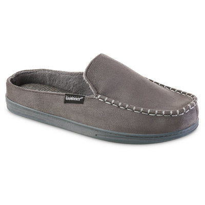Men's Microsuede Titus Hoodback Slippers in Ash Grey Right Angled View