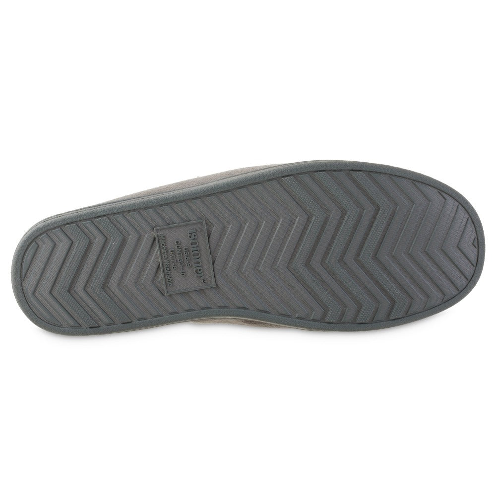 Men's Microsuede Titus Hoodback Slippers in Ash Grey Bottom Sole Tread