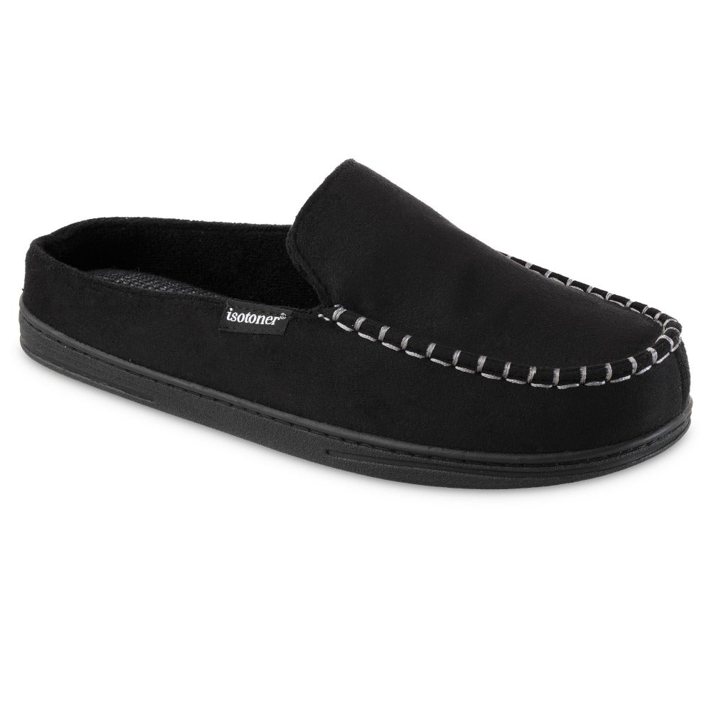 Men's Microsuede Titus Hoodback Slippers in Black Right Angled View
