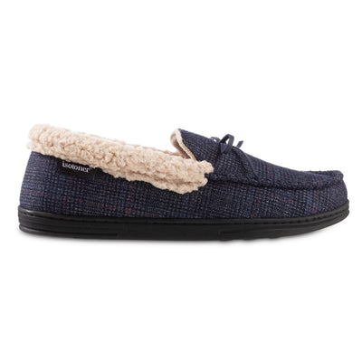 Men's Plaid Tanner Moccasin Slipper in Navy Blue Profile